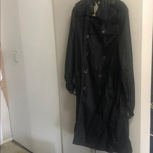 Burberry double breasted rain coat w/ leather trim